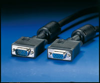 ROLINE 11.04.5352 :: VGA кабел HD15 M/F, 2.0 м с феритни накрайници, удължителен, Quality