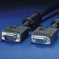 ROLINE 11.04.5353 :: VGA кабел HD15 M/F, 3.0 м с феритни накрайници, удължителен, Quality