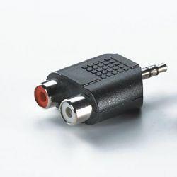 ROLINE 11.99.4441 :: 3.5 мм адаптер (1x M / 2x RCA/F), tin-plated, черен цвят