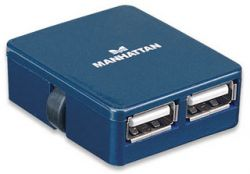 MANHATTAN 160605 :: Hi-Speed USB Micro хъб, 4 порта, син
