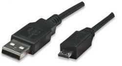 MANHATTAN 307215 :: Кабел USB 2.0 A/M- micro A/M 1.8 м, черен цвят