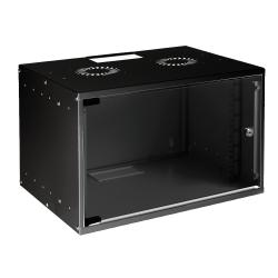 MIRSAN MR.SOH07U40MN.01 :: Сървърен шкаф за мрежово оборудване - 535 x 400 x 350 мм, D=400 мм / 7U, черен, за стена, SOHO
