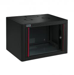 MIRSAN MR.WTE12U45.01 :: Сървърен шкаф за мрежово оборудване - 600 x 450 x 645 мм, D=450 мм / 12U, черен, за стена, Eco