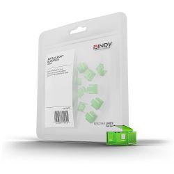 LINDY 40473 :: Допълнителни RJ-45 порт блокери за заключваща система Lindy, Зелени, 20 бр.