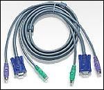ATEN 2L-1006P/C :: KVM кабел, HD15 M + 2x PS2 M >> HD15 F + 2x PS2 M, 6.0 м