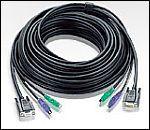 ATEN 2L-1010P/C :: KVM кабел, HD15 M + 2x PS2 M >> HD15 F + 2x PS2 M, 10.0 м