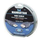 MANHATTAN 390316 :: Кабел USB 2.0 A-A ext., 1.8 м, черен цвят