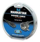 MANHATTAN 391399 :: Захранващ кабел, 1.8 м, черен цвят