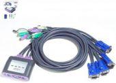 ATEN CS64A :: KVM превключвател, 4х 1, автом., PS2 + audio, включени кабели
