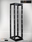 MIRSAN MR.OPR26UDF66.01 :: Сървърен шкаф - 535 x 660 x 1200 мм, D=660 мм / 26U, отворен, черен, OPEN RACK DOUBLE FRAME