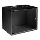 MIRSAN MR.SOH12U40MN.01 :: Сървърен шкаф за мрежово оборудване - 535 x 400 x 572 мм, D=400 мм / 12U, черен, за стена, SOHO
