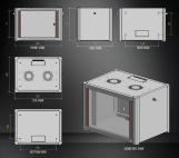 MIRSAN MR.WTN12U45.01 :: Сървърен шкаф за мрежово оборудване - 600 x 450 x 645 мм, D=450 мм / 12U, черен, за стена