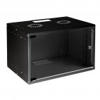 MIRSAN MR.SOH07U30DE.01 :: Сървърен шкаф за мрежово оборудване - 535 x 300 x 350 мм, D=300 мм / 7U, за стена, разглобен, Черен
