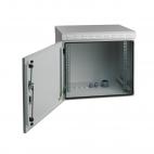 MIRSAN MR.IP55W09U45.03 :: IP55 Outdoor сървърен шкаф - 600 x 450 x 500 мм, D=450 мм / 9U, 100 кг товар, бял, за стена